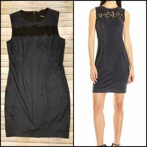 Elie Tahari Parker Lace Front Dress in Charcoal